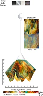product image for Jezebel Signature Flame Track Lighting Pendant Small. Hardware: White. Glass: Daylily