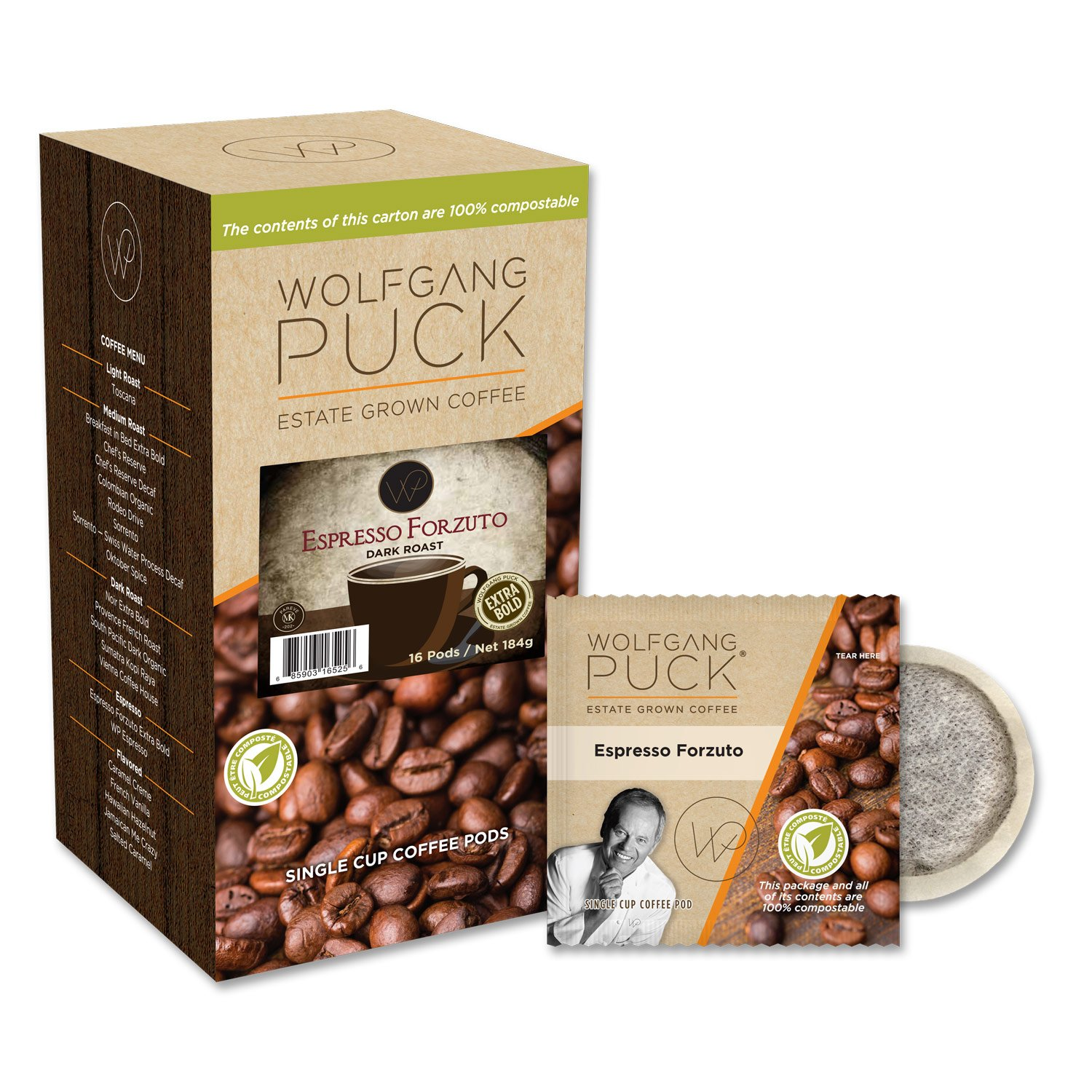 Wolfgang Puck Coffee, Espresso Forzuto, 12 Gram Pods, 6 x 16 Count