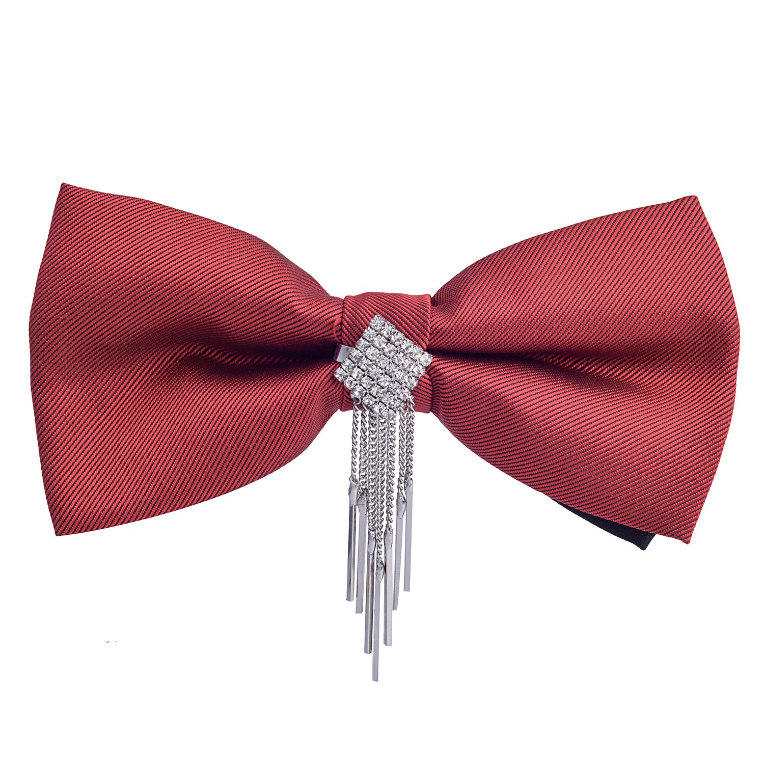 Sunvan Mens Bow Tie Maroon Solid with silver crystal Stone Studded And Strings Attached Pre-Tied Bow Tie with Adjustable Length