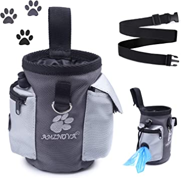 with Belt Clip /& Removable Waistband Kibble and Treats Free Your Hands to Carry Toys Portable Dog Treat Bag for Walking Grey AMZNOVA Dog Treat Pouch
