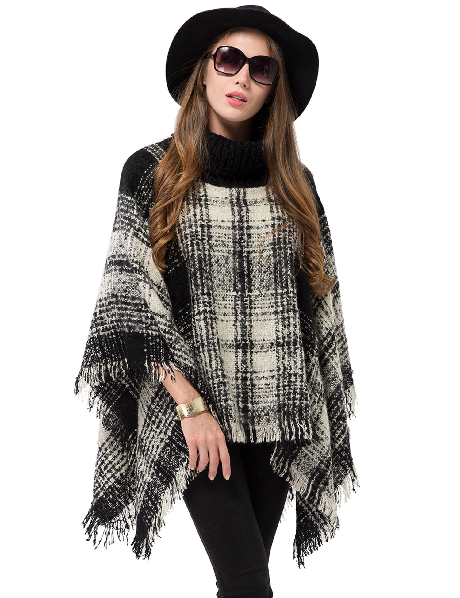 OTIOTI Womens Knitted Pullover Poncho Sweater Winter Turtleneck Cape Tassel Shawl Black and White Plaid
