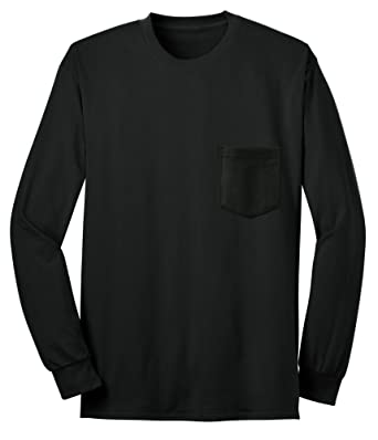 d0814a713df Beefy Big and Tall USA Made Black Long Sleeve Pocket T-Shirts (3X Tall