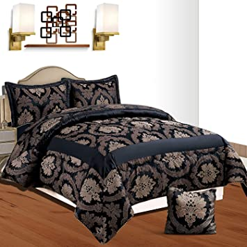 King /& Super King Size Betty Black Double NTRADEHOUSE 3 Piece Luxury Jacquard Quilted Bedspread Comforter Set Includes 1 Bed Throw /& 2 Pillow Shams Double 220 X 240 Cm
