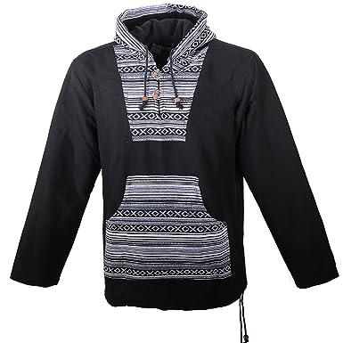 Kunst und Magie Nepal Baja Jerga Sweatshirt Poncho mit Fleecefutter und  Kapuze  Amazon.de  Bekleidung 836600e3b8