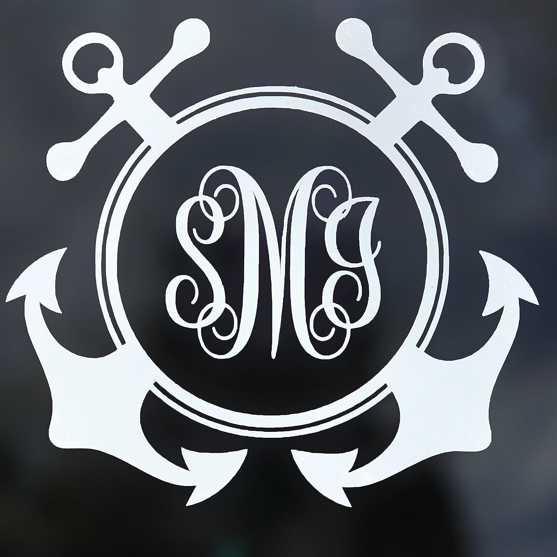 Amazon com custom anchor initial monogram vinyl decal boating bumper sticker for tumblers laptops car windows simple letters handmade