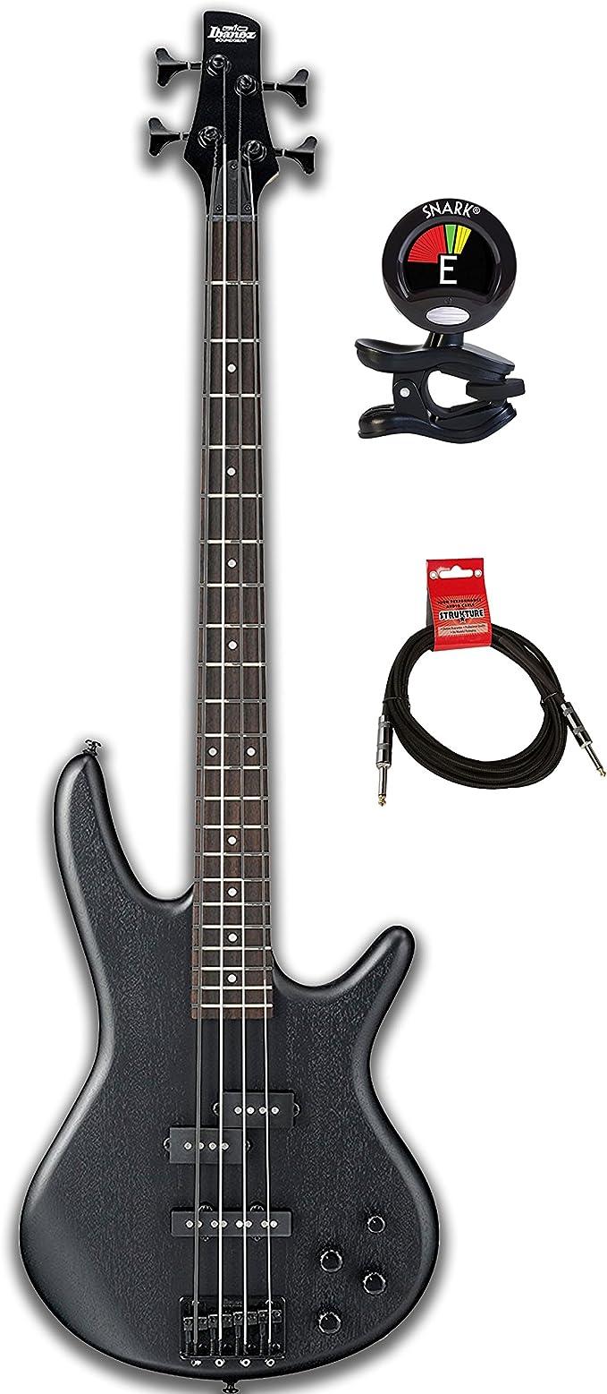 Ibanez GIO GSR200 Paquete de bajo eléctrico de 4 cuerdas con afinador de guitarra y cable de instrumento con puente totalmente ajustable y ecualizador Phat II EQ: Amazon.es: Instrumentos musicales