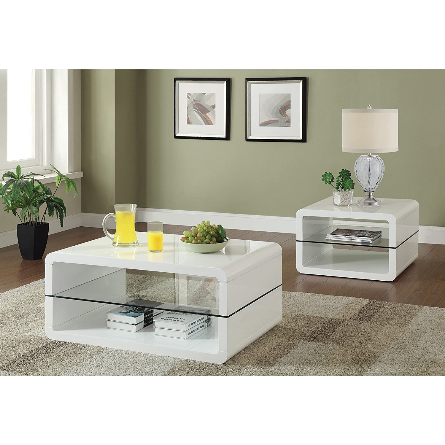 Amazon Coaster Home Furnishings Coffee Table White