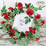 AmyHomie 3 Pack Artificial Rose Garlands,Silk Fake Rose Vine Flowers Plants for Home Hotel Office Wedding Party Garden Craft Art Decor(big flowers) (red)