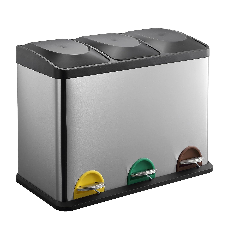MARI HOME Cubo Basura Grande | Basurero Triple En Acero Inoxidable 45L Con 3 Compartimentos (15L X 3) | Para La Cocina, Oficina Y Hogar | Basura A ...