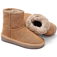 WQINSHOE Girls Suede Winter Snow Boots Warm Fur Pull-on Outdoor Flat Shoes