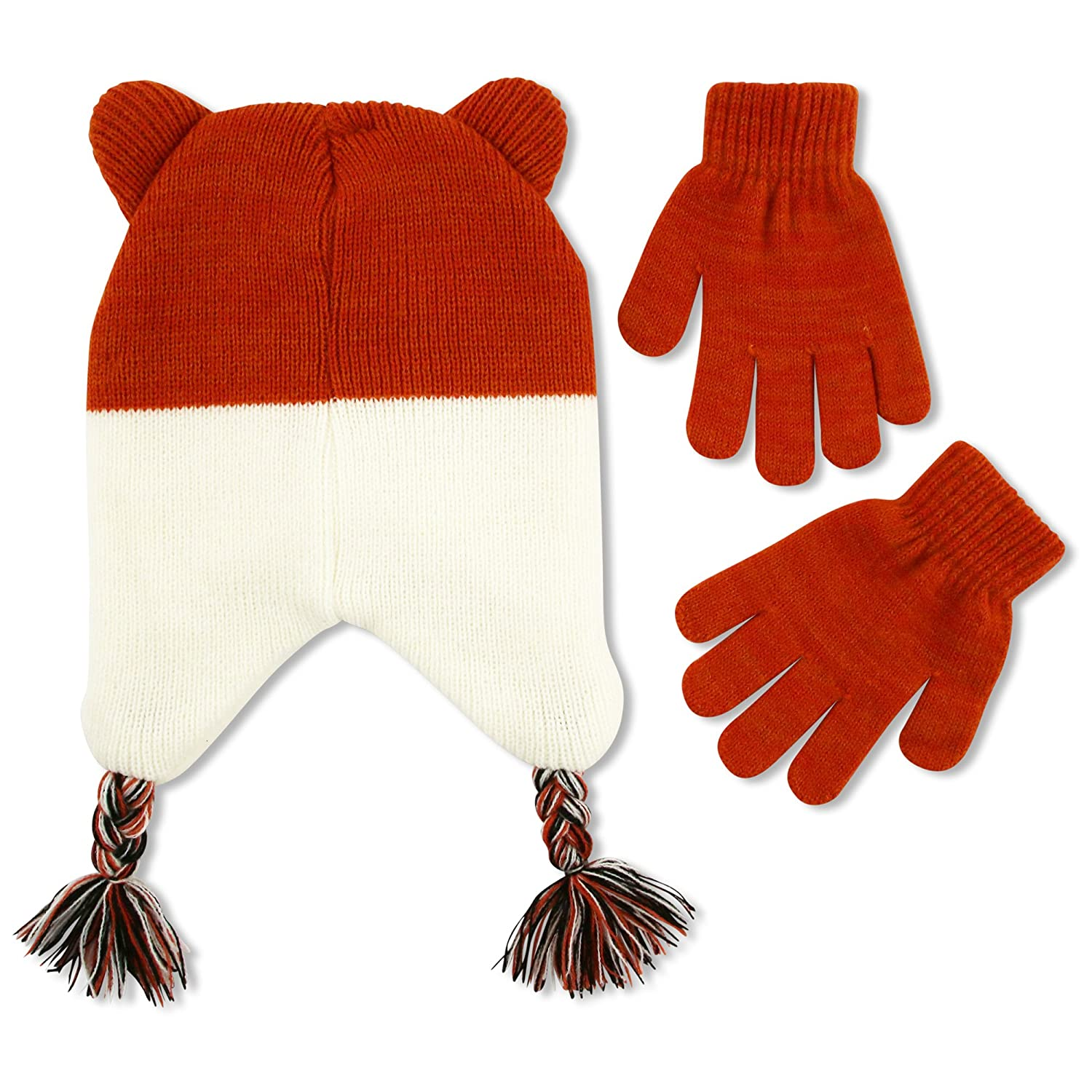 ABG Accessories Big Girls Critter Collection Acrylic Knit Winter Laplander Hat and Matching Glove Set