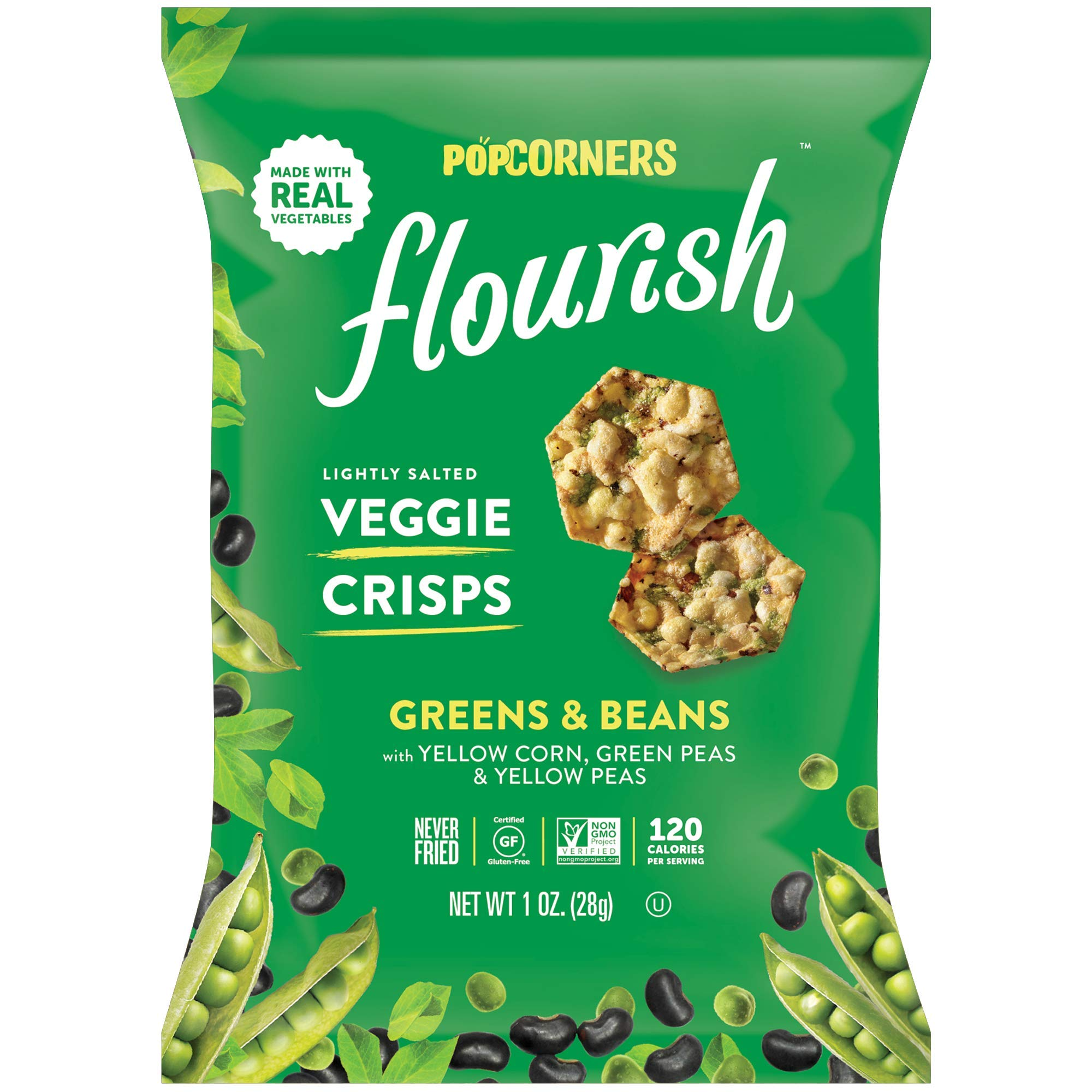 Popcorners Flourish Greens & Beans Veggie Crisps | Plant-Based Protein, Gluten Free Snacks | (24 Pack, 1 oz Snack Bags) by Popcorners