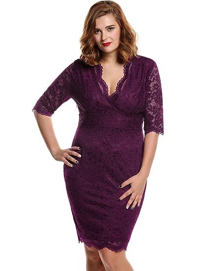 672623868e Meaneor Women s Plus Size V-neck 3 4 Sleeve Floral Lace Dress(Purple ...