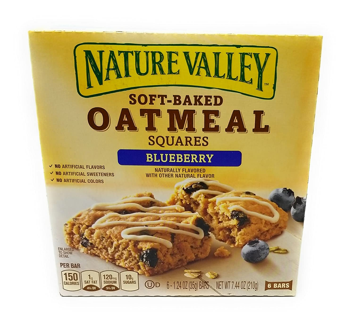 Nature Valley Oatmeal Square Bars Blueberry 7.44 Ounce (Pack of 4)