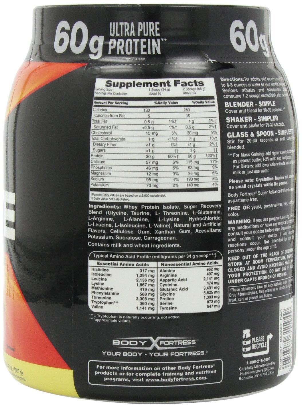 Body Fortress Whey Protein Powder Vanilla Nutrition Facts