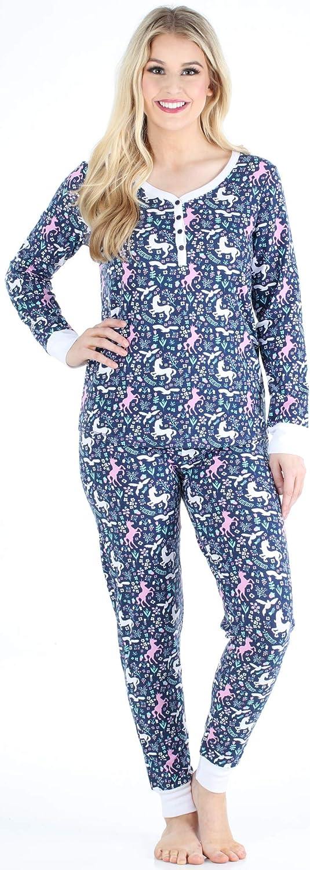 Sleepyheads Biancheria da Notte per Donna Set Pigiama con Maglia a Manica Lunga Collo Henley e Pantaloni