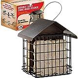 SEWANTA Suet Bird Feeder for Outside [Double Capacity] Suet Wild Bird Feeder with Hanging Metal Roof, Suet Feeders for…