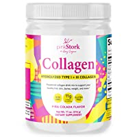 Pink Stork Collagen Powder: Pina Colada Flavor, Hydrolyzed Bovine Collagen Peptides Drink Powder, Healthy Hair Skin and Nails + Weight Loss + Vitamin A, Women-Owned, 24 Servings