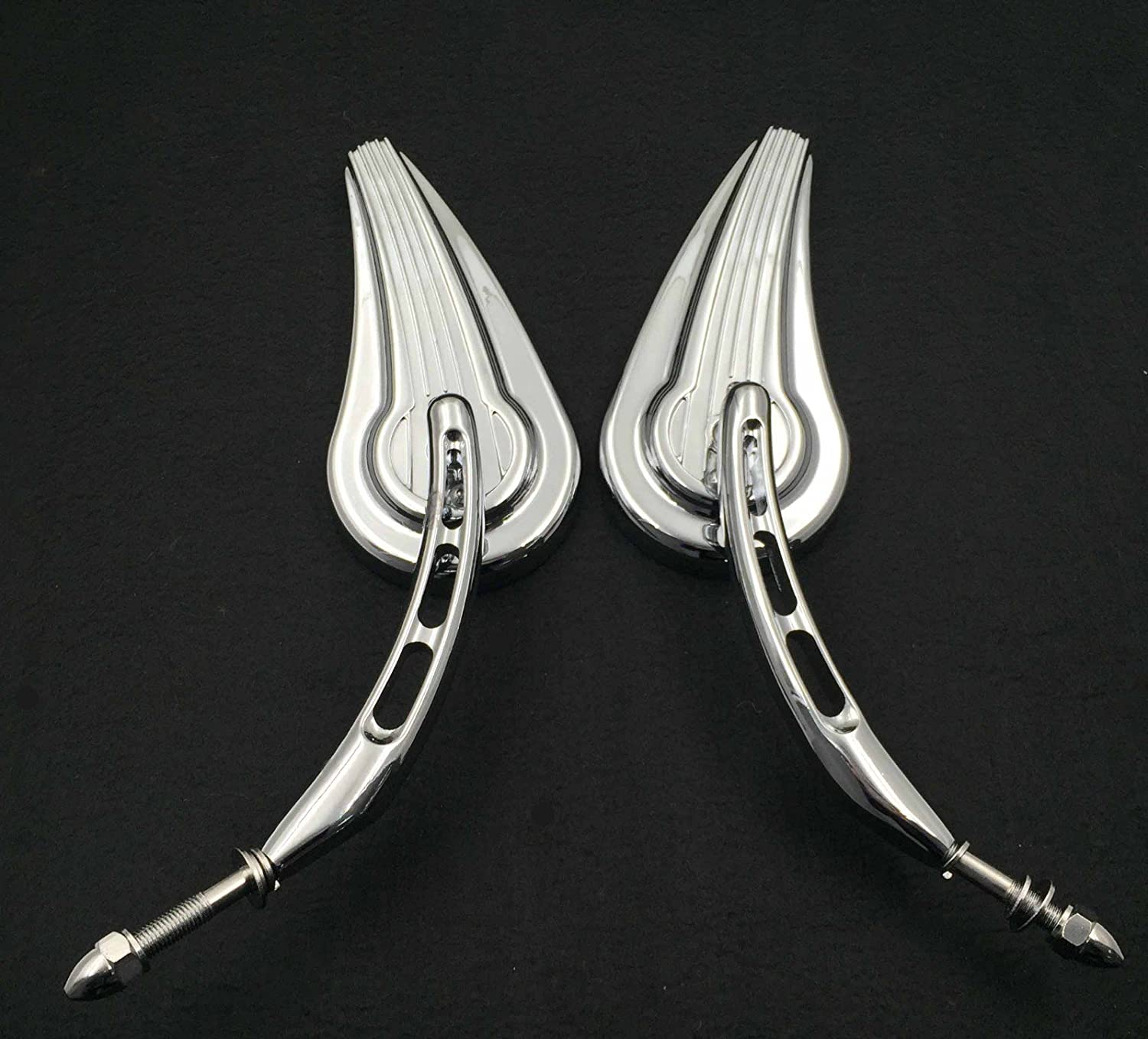 except VRSCF,2014-later FLHTKSE,FLHRSE6, FLHR and FLHRC models and XL1200X mounted below the handlebars HTT Motorcycle Chrome Raindrop Side Mirrors For Harley Davidson 1982-later all models