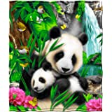 "Dawhud Direct Super Soft Full/Queen Size Plush Fleece Blanket, 75"" x 90"" (Precious Pandas)"