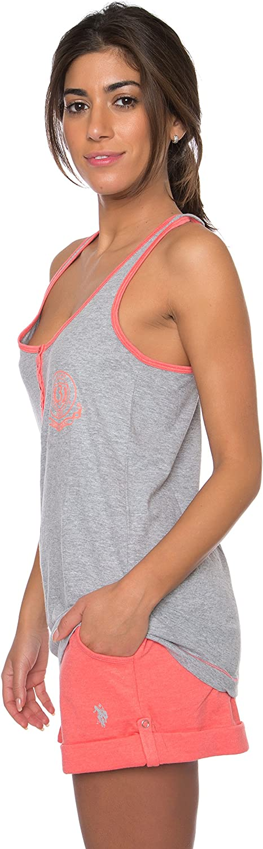 Polo Assn U.S Essentials Womens Pajama Racerback Tank and Pocket Shorts Sleepwear Set