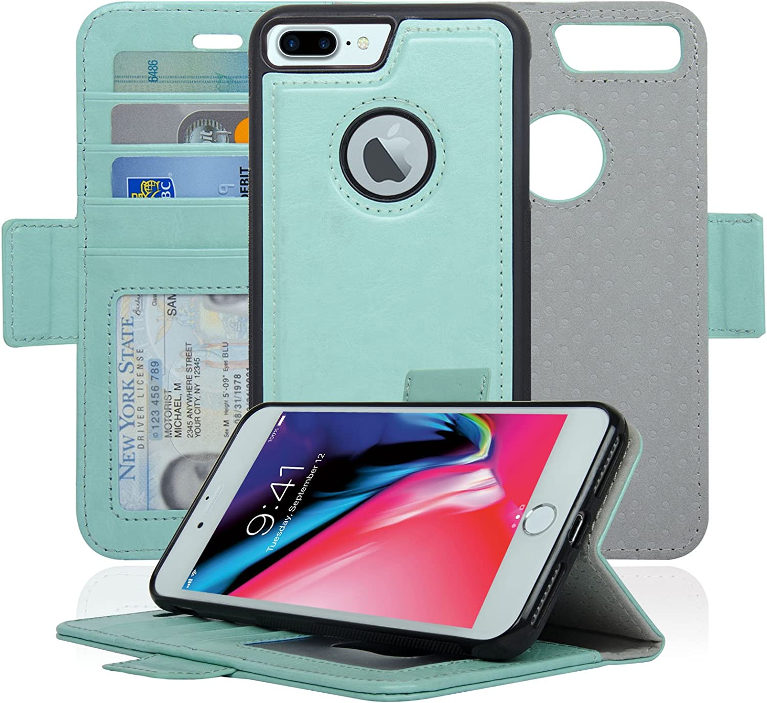 Vajio Series RFID Protection Navor Detachable Magnetic Wallet Case and Universal Car Mount Compatible for iPhone 8 Plus -Rose Gold