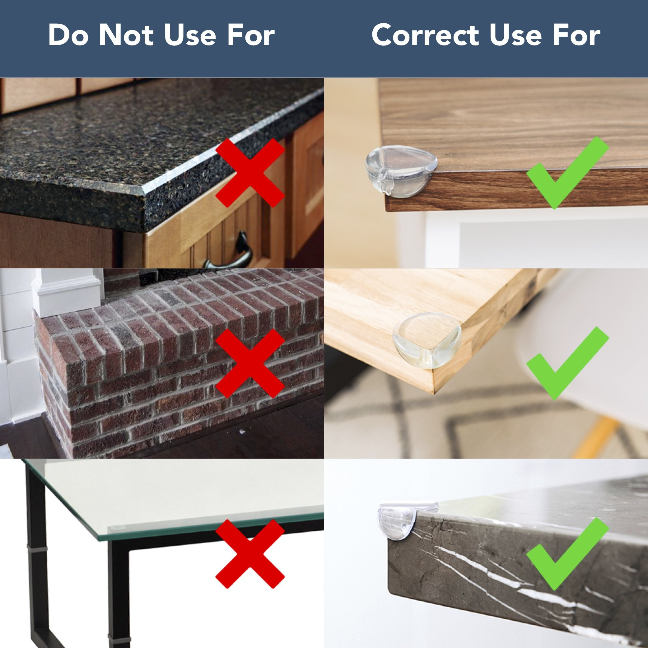 Large Clear Corner Protectors 8-Pack | Caring Corners Guards, Large Size by The Hamptons Baby | Corner Guards for Tables, Furniture & Sharp Corners | Baby Proofing | Pre-Applied Gel Adhesive by The Hamptons Baby (Image #8)
