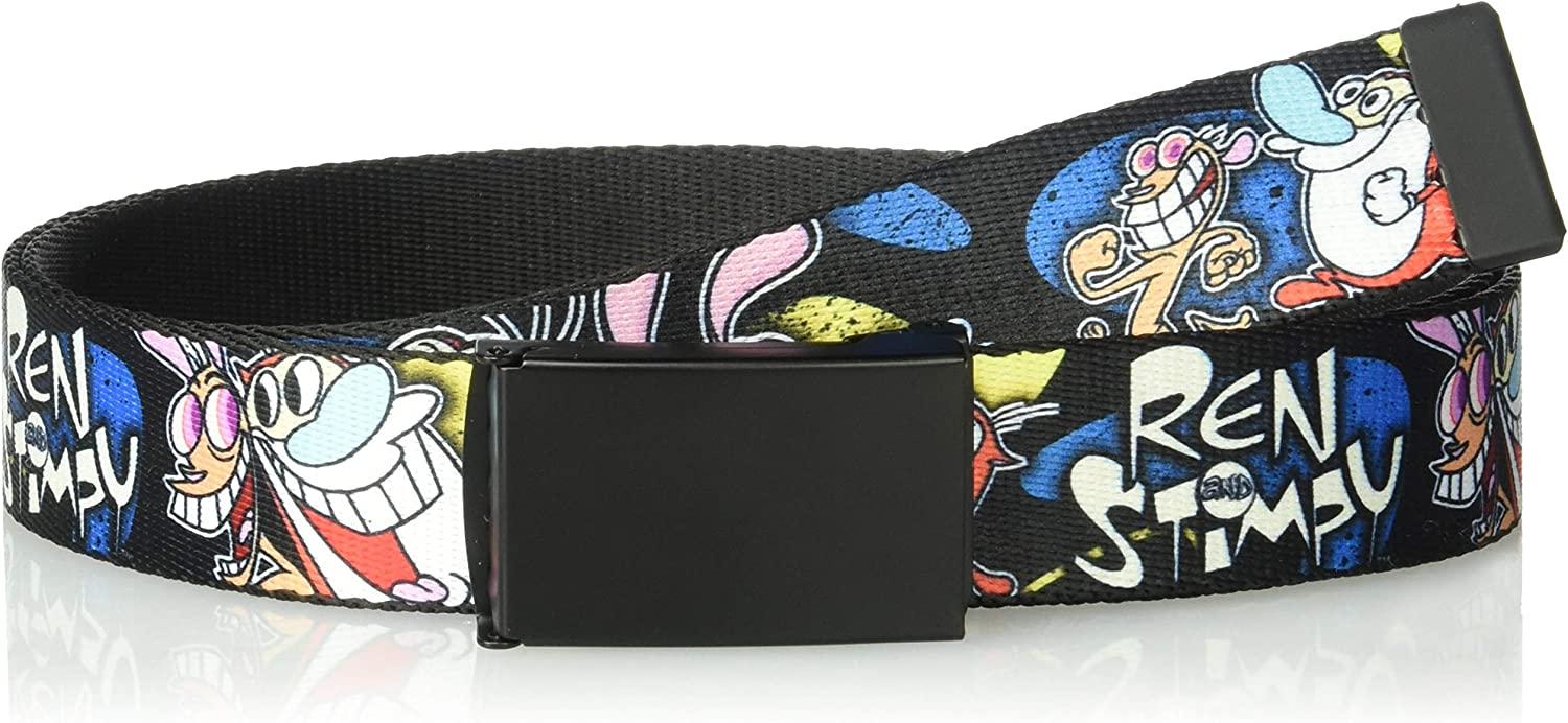 Multicolor Wide-Fits up to 42 Pant Size Nickelodeon Mens Buckle-Down Web Belt Ren /& Stimpy Show 1.25