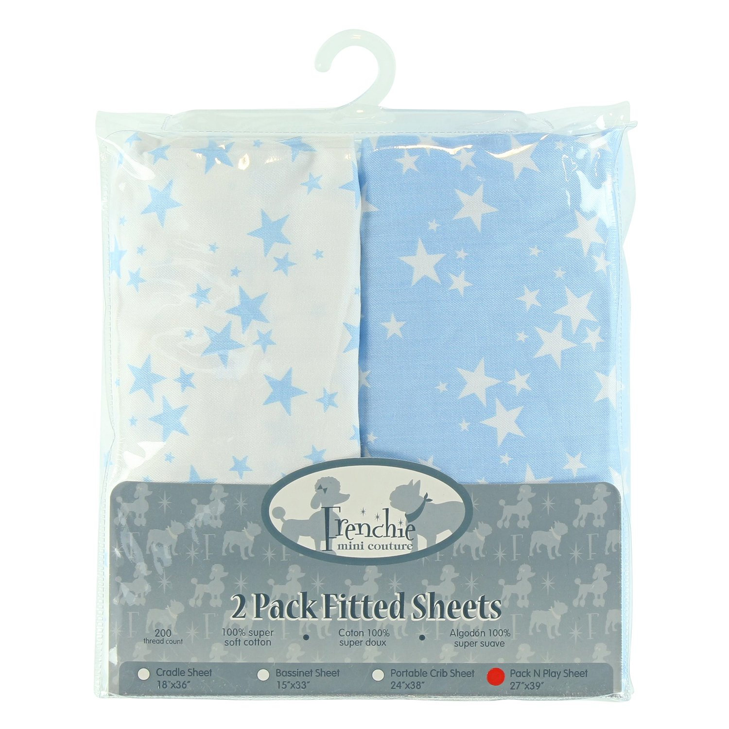 2 Pack Fitted Pack N Play Sheets, Blue Stars, Frenchie Mini Couture