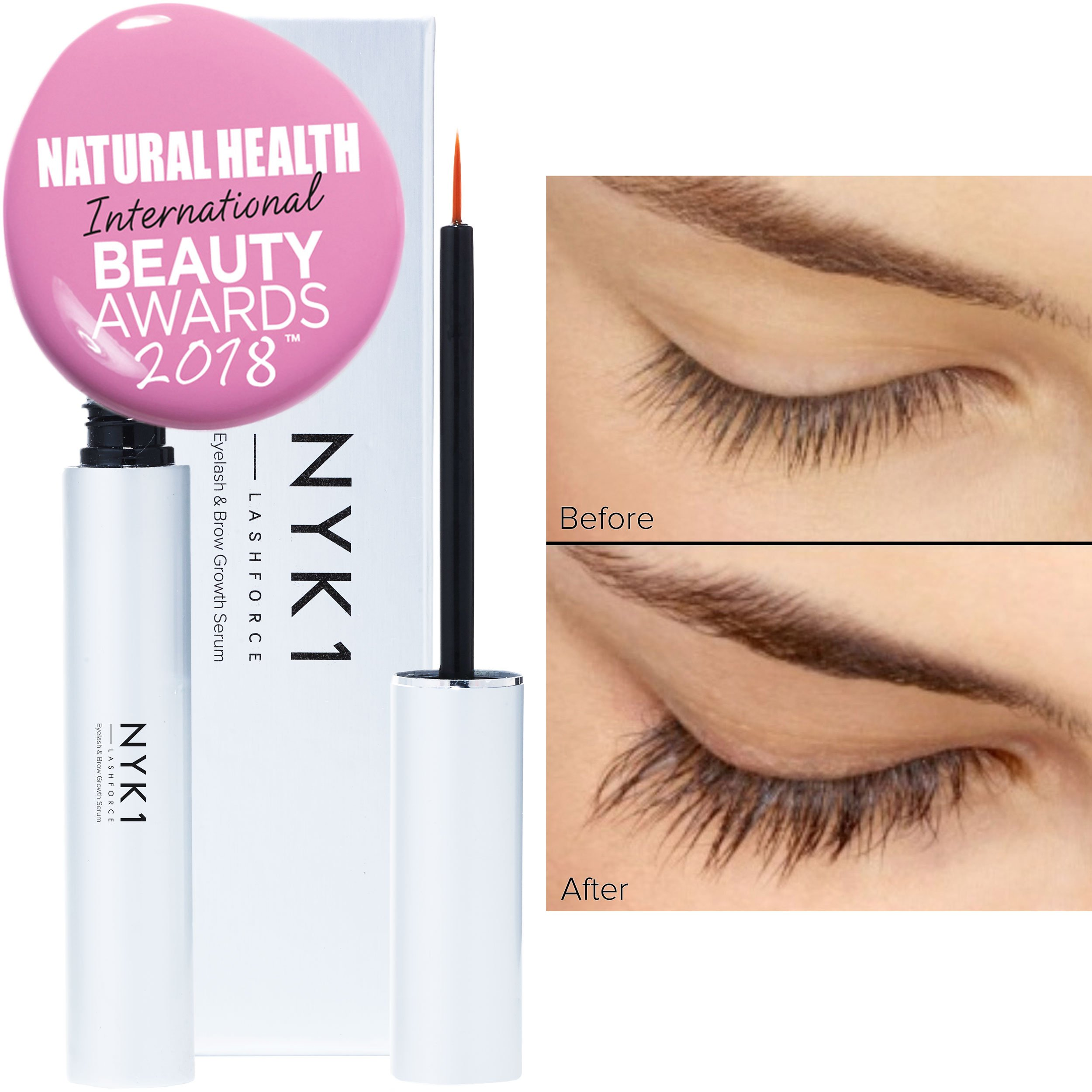 NYK1 Lash Force Eyelash Growth Serum - Grow Long Eyelashes and Thicker Eyebrows - Rapid Lash Growth Serum and Eyebrow Enhancer - 8ml by NYK1