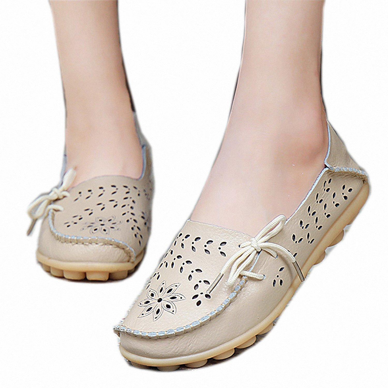 Smakke Womens Casual Genuine Leather Loafers Slip-On Female Flats Moccasins Driving Shoe Footwear