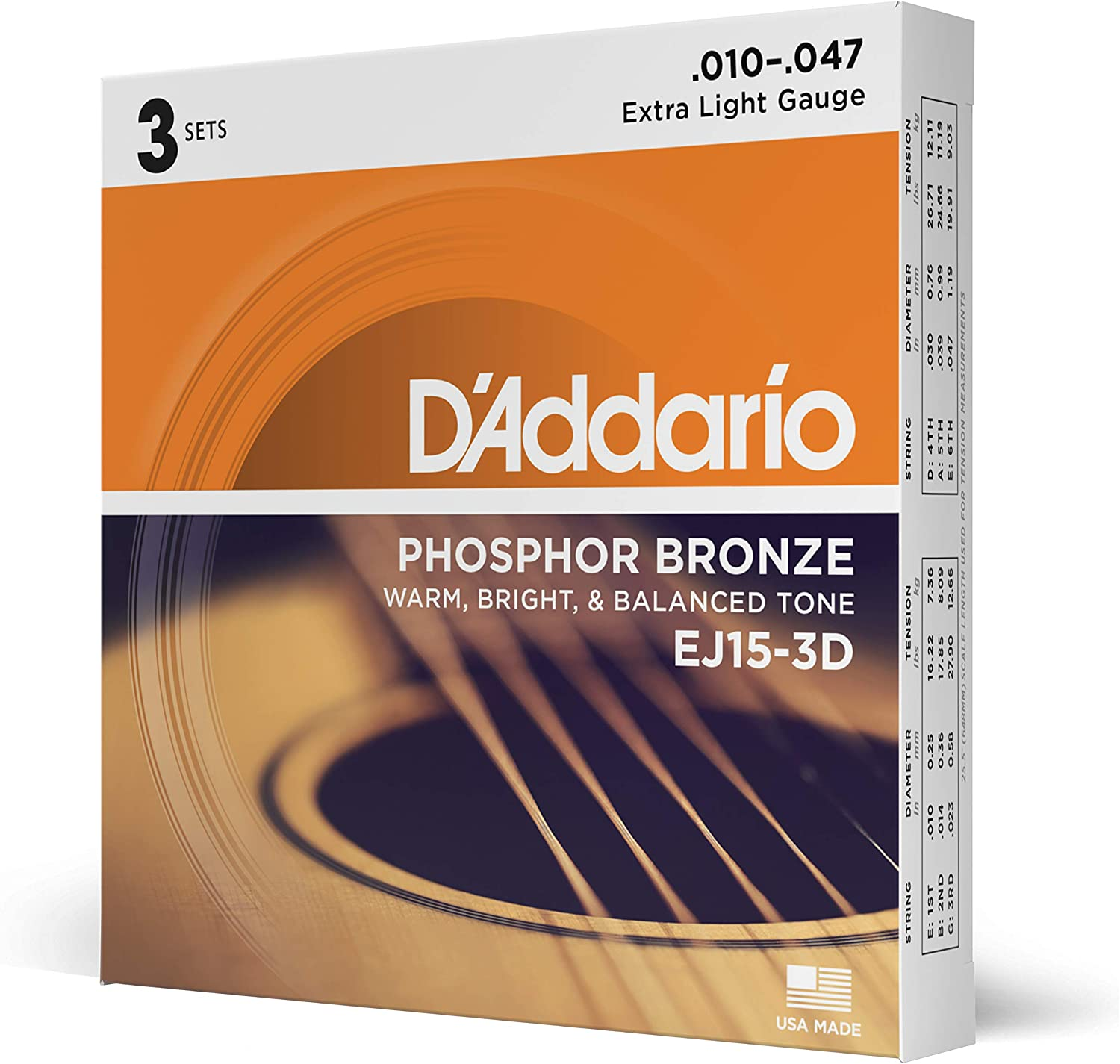 D'Addario EJ15 Phosphor Bronze Acoustic Guitar Strings, Extra Light (3 Pack) – Corrosion-Resistant Phosphor Bronze, Offers a Warm, Bright and Well-Balanced Acoustic Tone and Comfortable Playability
