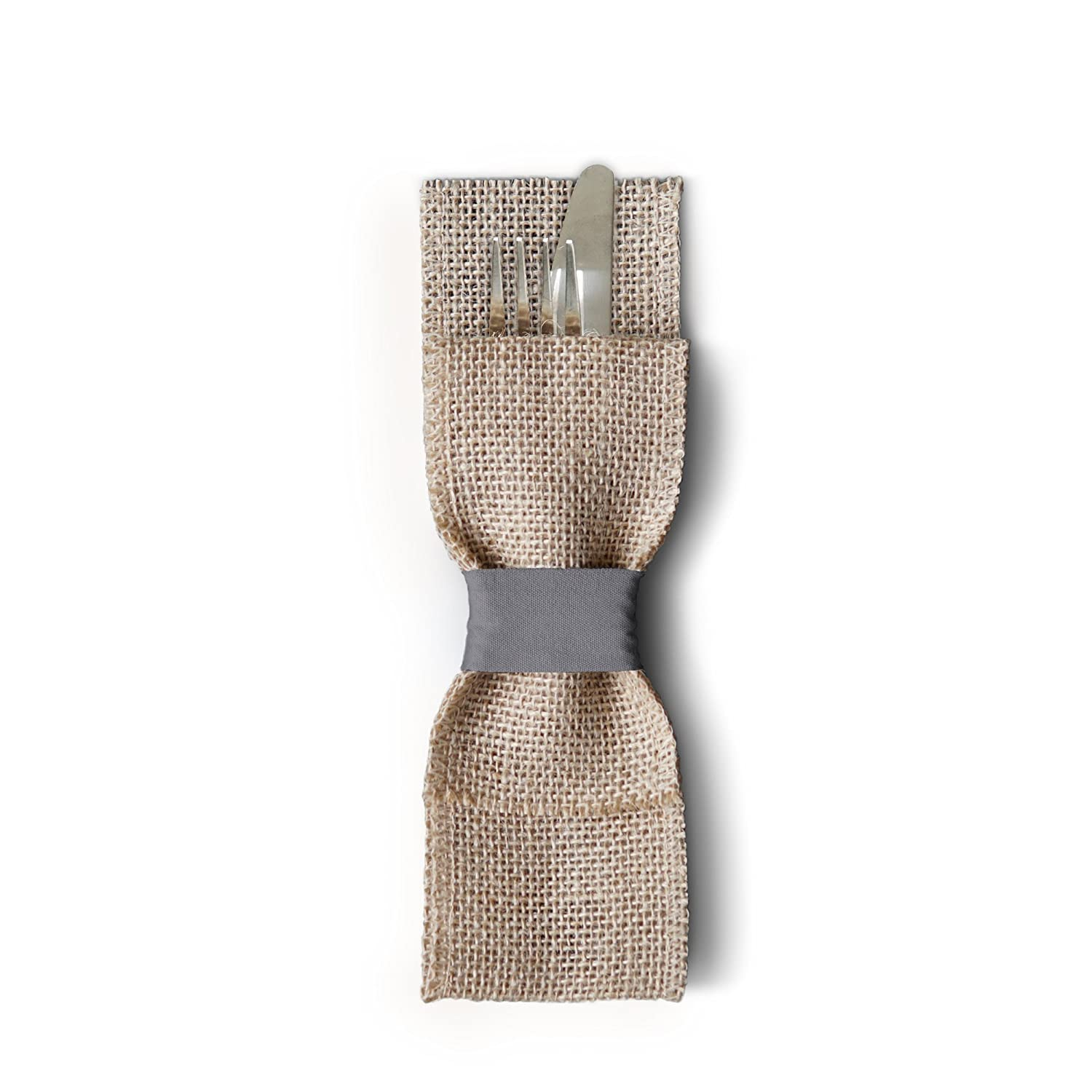 Wild Leaf Tableware Burlap Silverware Pockets (Pack of 12, Pebble Grey). Rustic & Elegant Cutlery Pouches That are Great for Vintage Weddings, Dinner Parties & Table Setting Décor