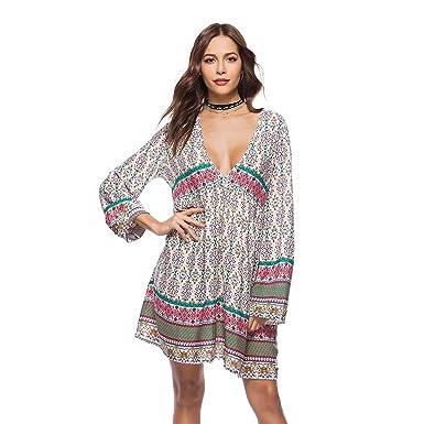 d801a4103e1e Robe lâche Vintage Beach pour Femmes - Imprimer Mini Robe en Dentelle à  Manches Courtes Longues