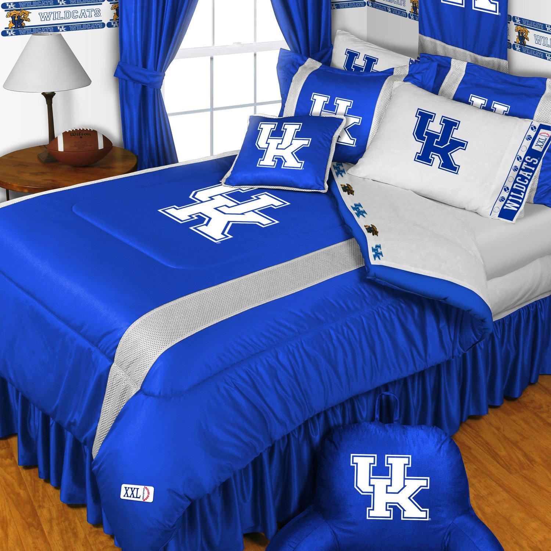 NCAA Kentucky Wildcats King Comforter Pillowcases Set College Football Team Logo Bed