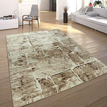 Paco Home Designer Teppich Modern Trendig Meliert Steinoptik Mauer Muster Wohnzimmer  Braun, Grösse:160x220