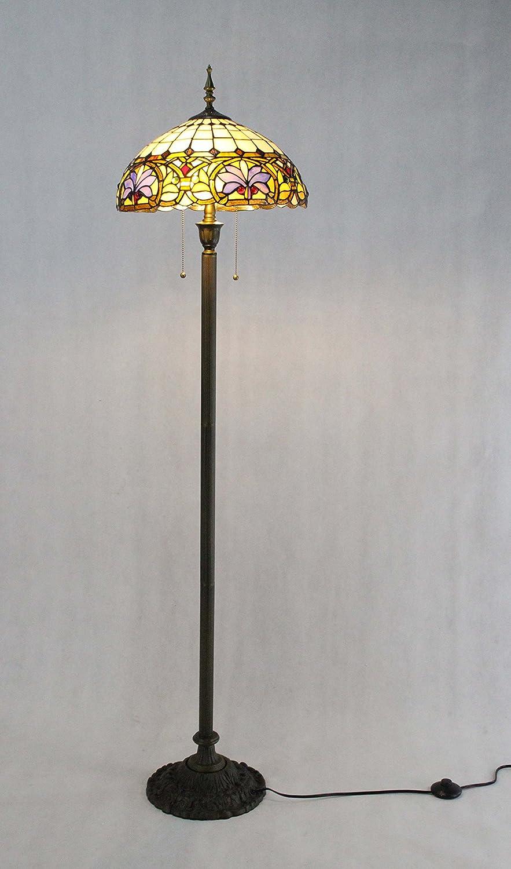 FixtureDisplays Tiffany Style Elegant Floor Lamp 16-Inch Shade 15718-FBA