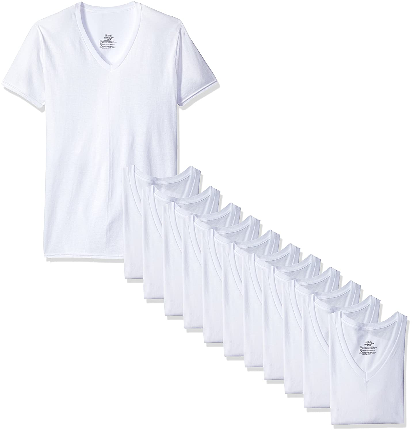 Hanes Men's White and Assorted V-Neck T-Shirts Hanes Men's Underwear 777VP6