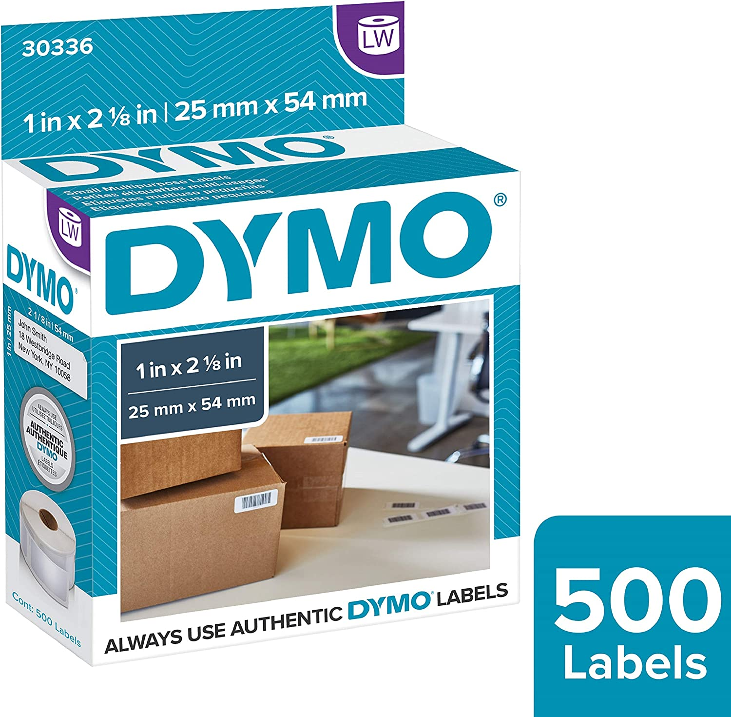 "DYMO Authentic LW Multi-Purpose Labels | DYMO Labels for LabelWriter Printers, Great for Barcodes (1"" x 2-1/8""), 1 Roll of 500"