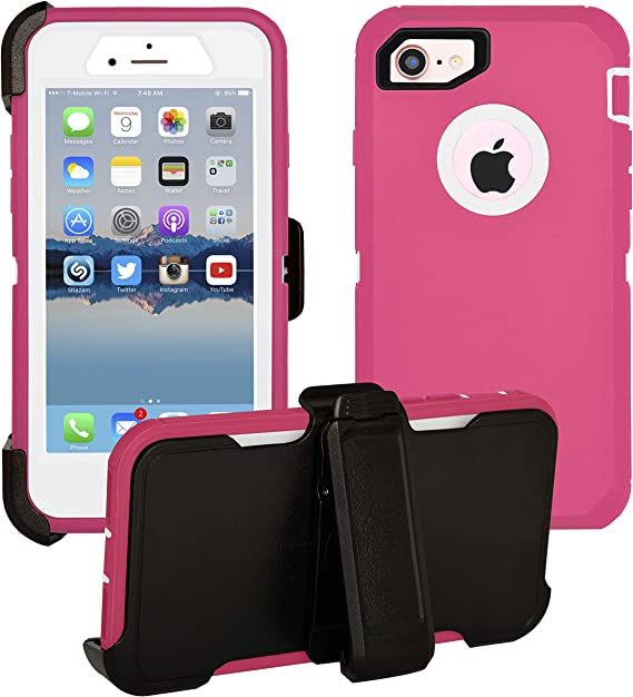 iPhone 7 / iPhone 8 Cover | 2-in-1 Screen Protector & Holster Case | Full Body Military Grade Edge-to-Edge Protection with carrying belt clip | Drop Proof Shockproof Dustproof | Pink / White