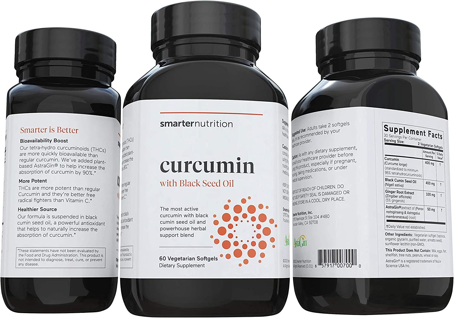 Smarter Nutrition Curcumin - Potency and Absorption in a SoftGel - The Most Active Form of Curcuminoid - 95% Tetra-Hydro Curcuminoids, 1 pack of 60 capsules - 30 Servings