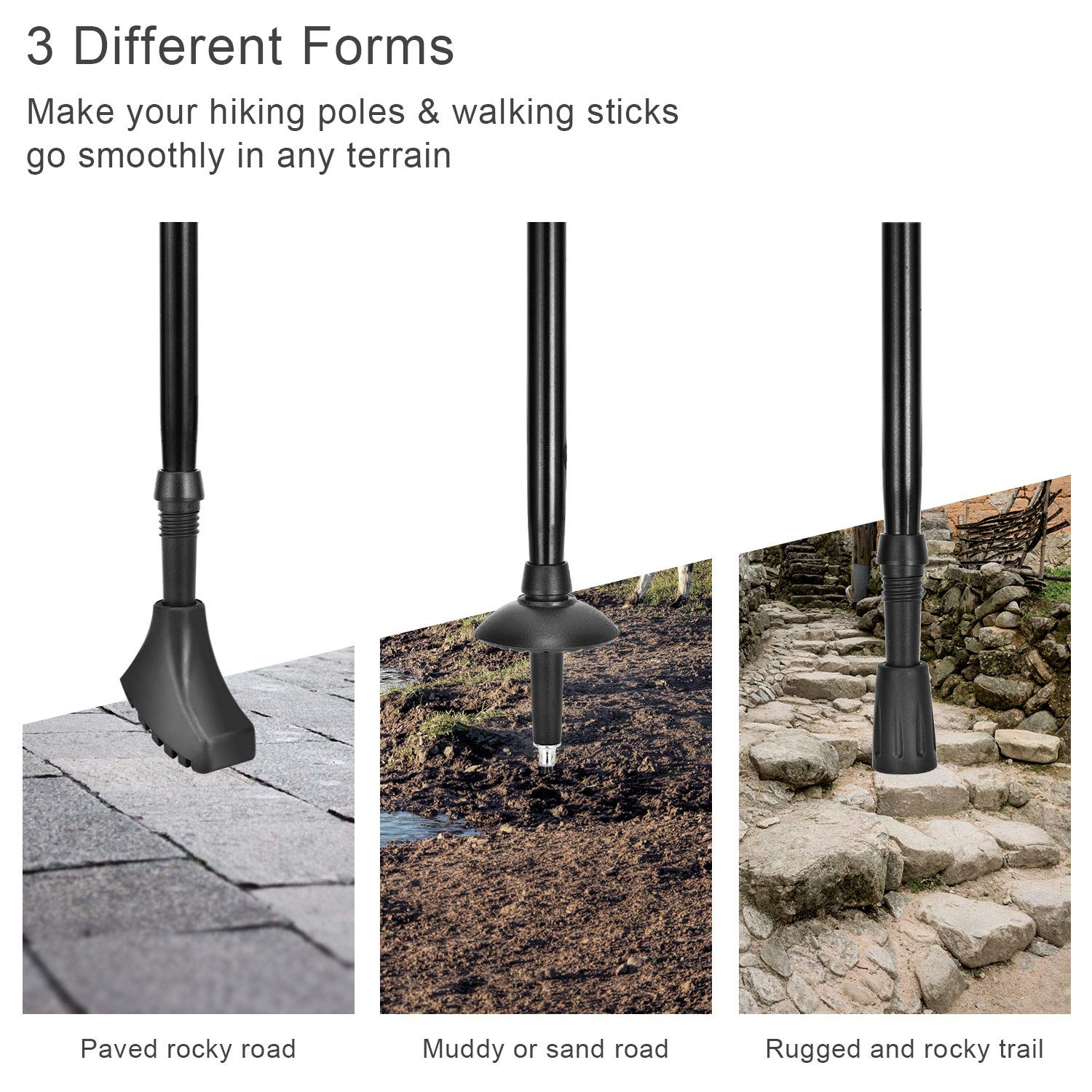 OTraki Hiking Walking Stick Rubber Tips 10 Pack Nordic Walking Pads Replacement Feet//Ferrules//Caps 3 Different Forms Alpenstock Head Cover Rubber Ends for Asphalt Rock and Snow Mud Ground