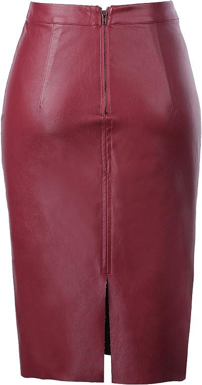 Kate Kasin - Falda - Lápiz - para mujer rojo vino XL: Amazon.es ...