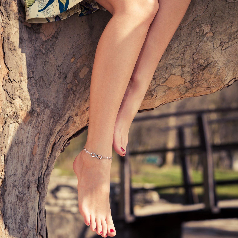 Billie Bijoux Womens 925 Sterling Silver Infinity Endless Love Symbol Charm Adjustable Anklet Bracelet, Large Bracelet, Gift for Mother's Day (A- Silver) by Billie Bijoux (Image #5)
