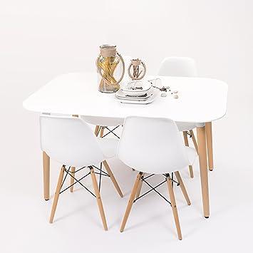 Conjunto de Comedor de diseño nórdico NORDIK-MAX con Mesa lacada ...