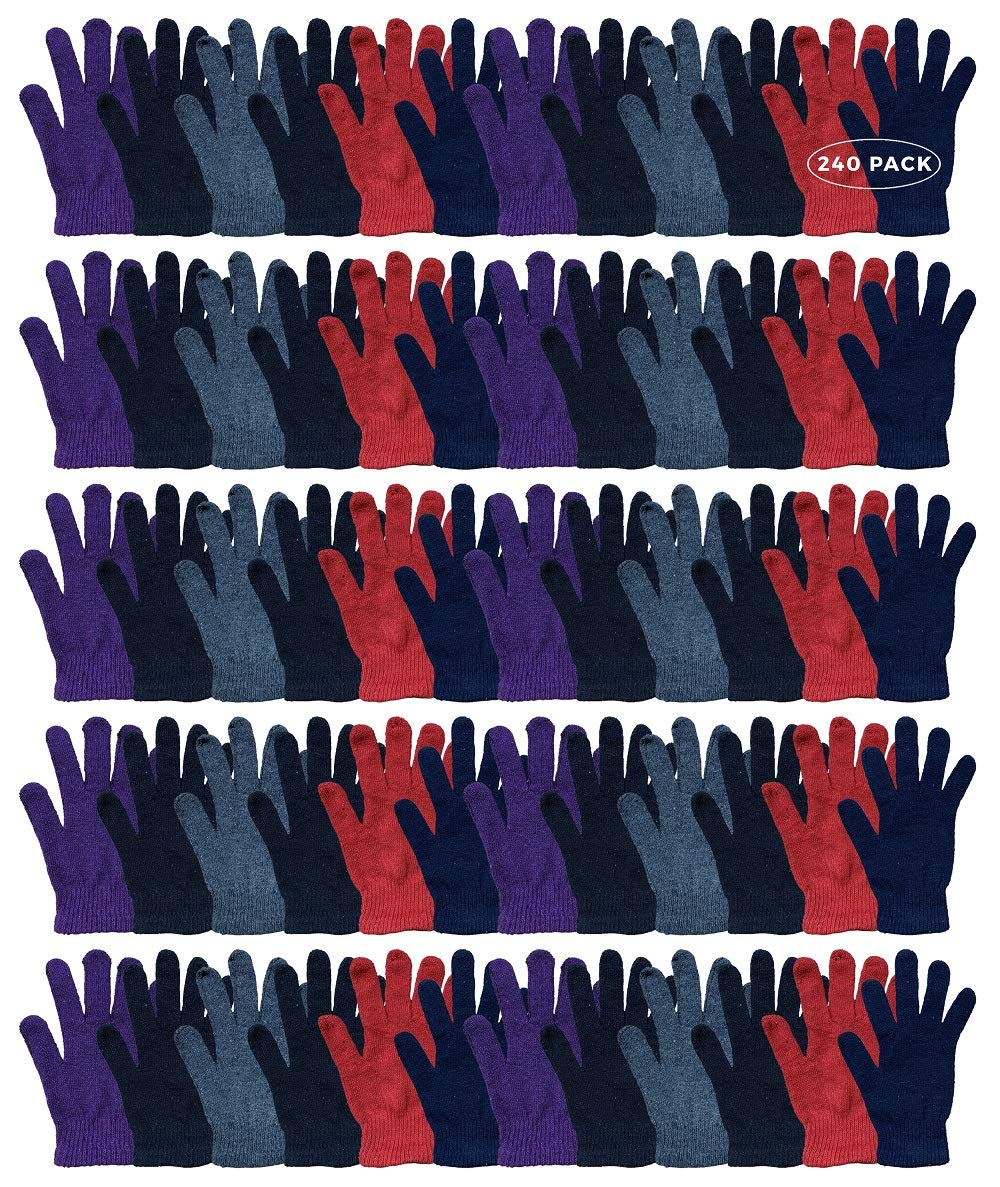 Wholesale Bulk Winter Magic Gloves Warm Brushed Interior, Stretchy Assorted Mens Womens by YACHT & SMITH