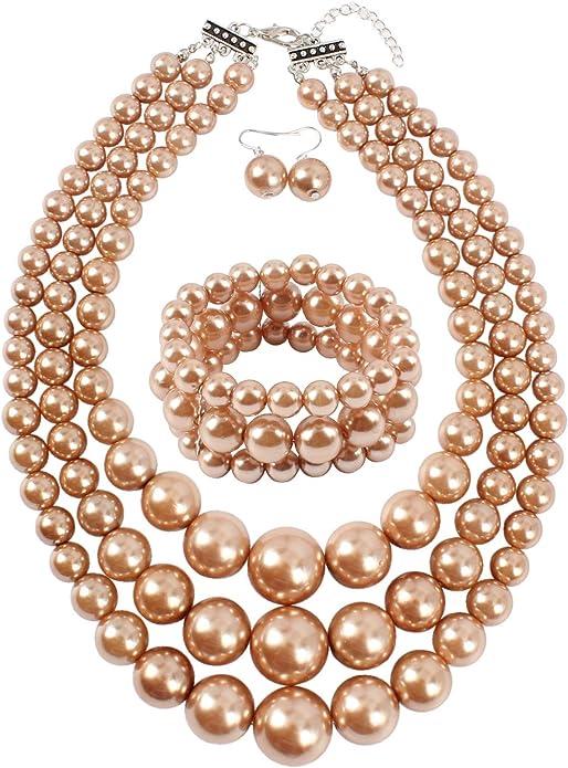 Triple Pearl and Starlight Bracelet Set
