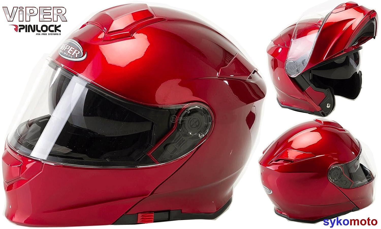 Casque Moto Viper RSV-8S PINLOCK MODULABLE ECE HOMOLOGU/É Scooter Adulte Double Visiere Courses TOURN/ÉE Bourgogne Brillant 61-62 CM XL
