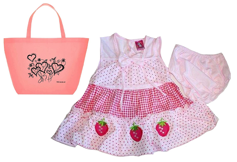 Lele for Kids Baby Girls\' Polka Dot Strawberry Dress, Diaper Cover & Tote-3 Piece Set