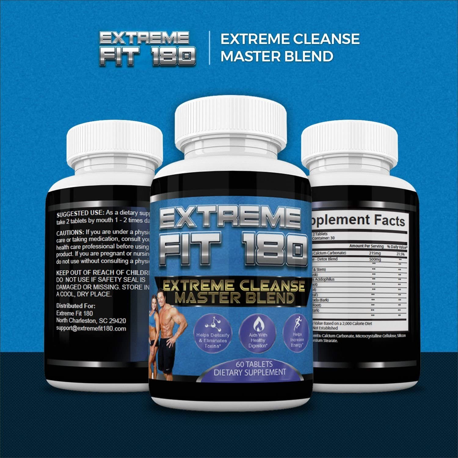 Extreme Fit 180-Extreme Cleanse Master Blend- Flush Excess Waste And Toxins- Increase Nutrient Absorption- Promote Weight Loss -100 Natural Key Ingredients 60 Capsules